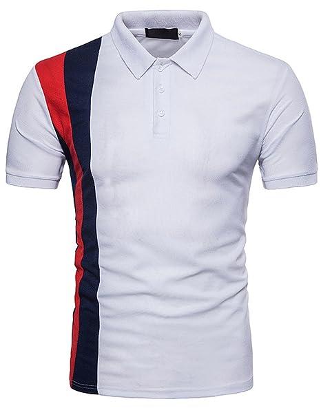 Polo Hombres Camiseta Casual de Manga Corta Moda Deportiva Slim ...