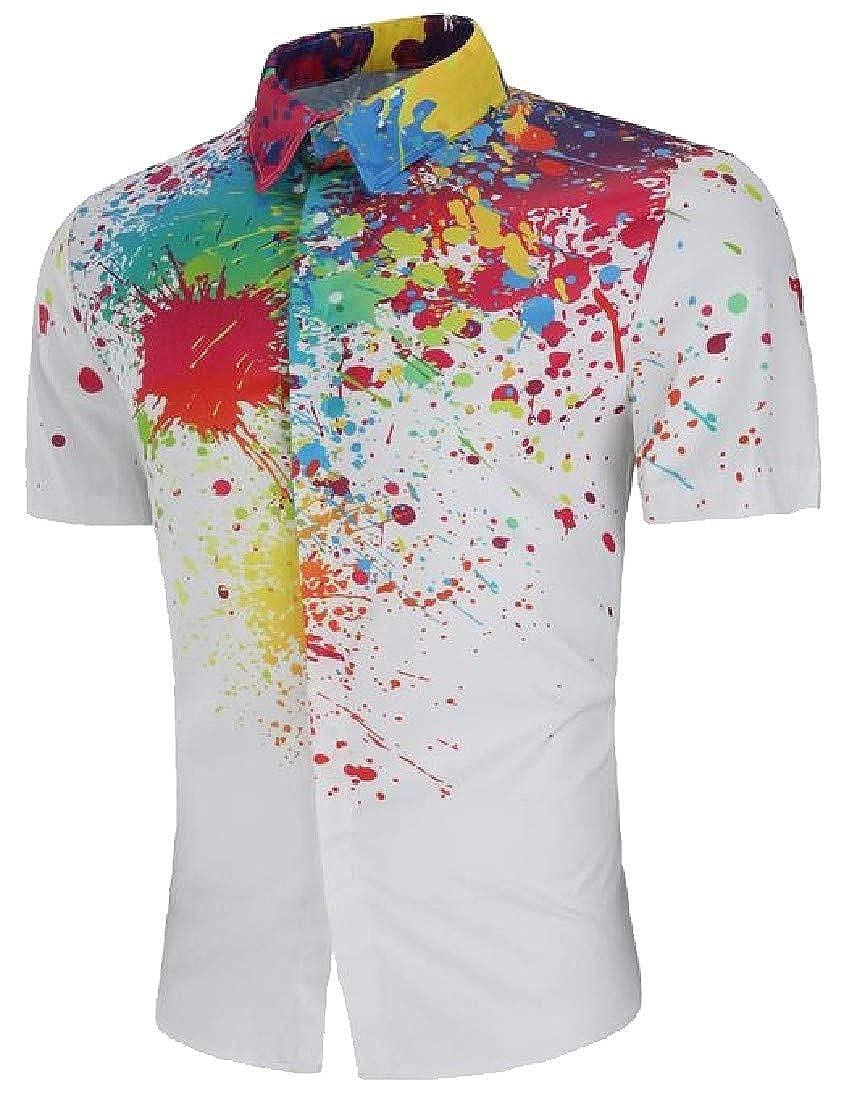 Cromoncent Men Lapel Neck Casual Tie Dyed Splashing-Ink Button Down Shirts