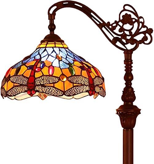 Bieye L10702 Dragonfly Tiffany Style Stained Glass Floor Reading Lamp