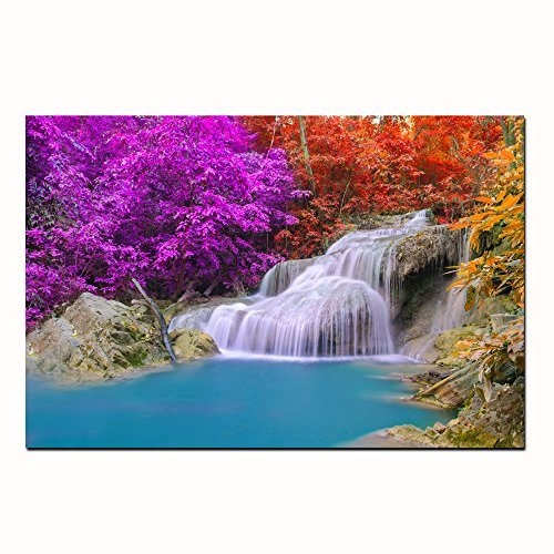 Framed HD Canvas Prints Art Small Waterfall Photo Wall Art Canvas Painting Print For Home Decoration (40x60cm)