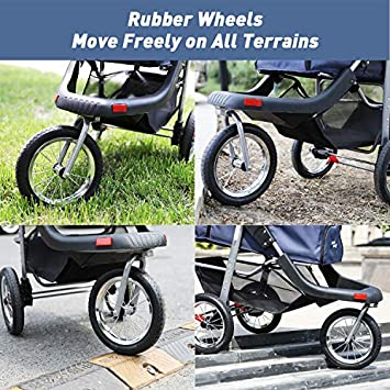 LAZY BUDDY Dog Stroller with 3 Rubber Wheels, High Stroller for Max Load Capacity 33LBS, Foldable Traveling Carrier with Storage Space for Dogs, Cats and Other Pets