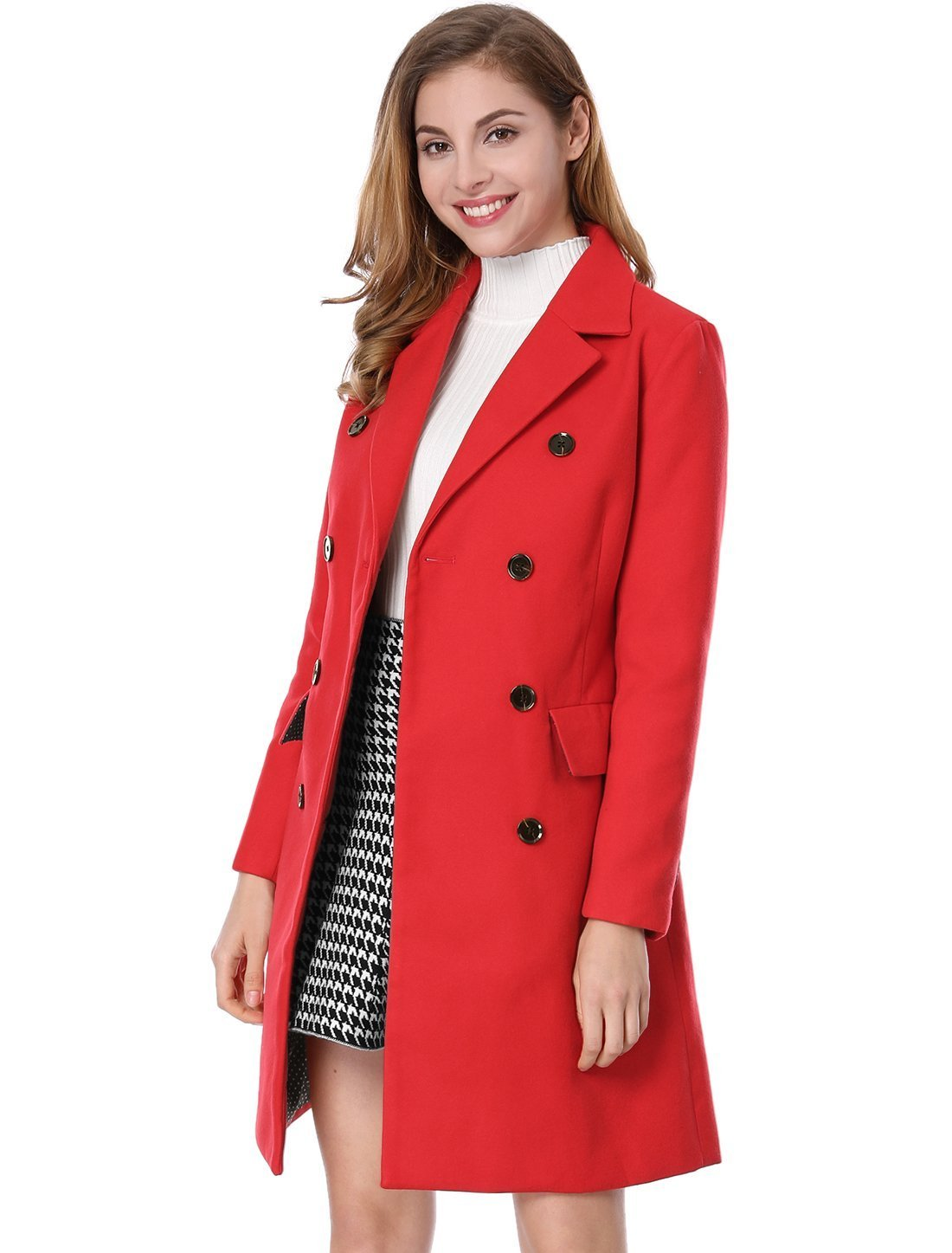 Allegra K Women's Notched Lapel Double Breasted Trench Coat L Red
