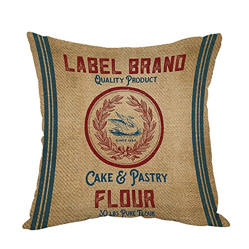 (Moslion Vintage Burlap Like Flour Sack Pillow,Home Decor Throw Pillow Cover Cotton Linen Cushion for Couch/Sofa/Bedroom/Livingroom/Kitchen/Car 18 x 18 inch Square Pillow)