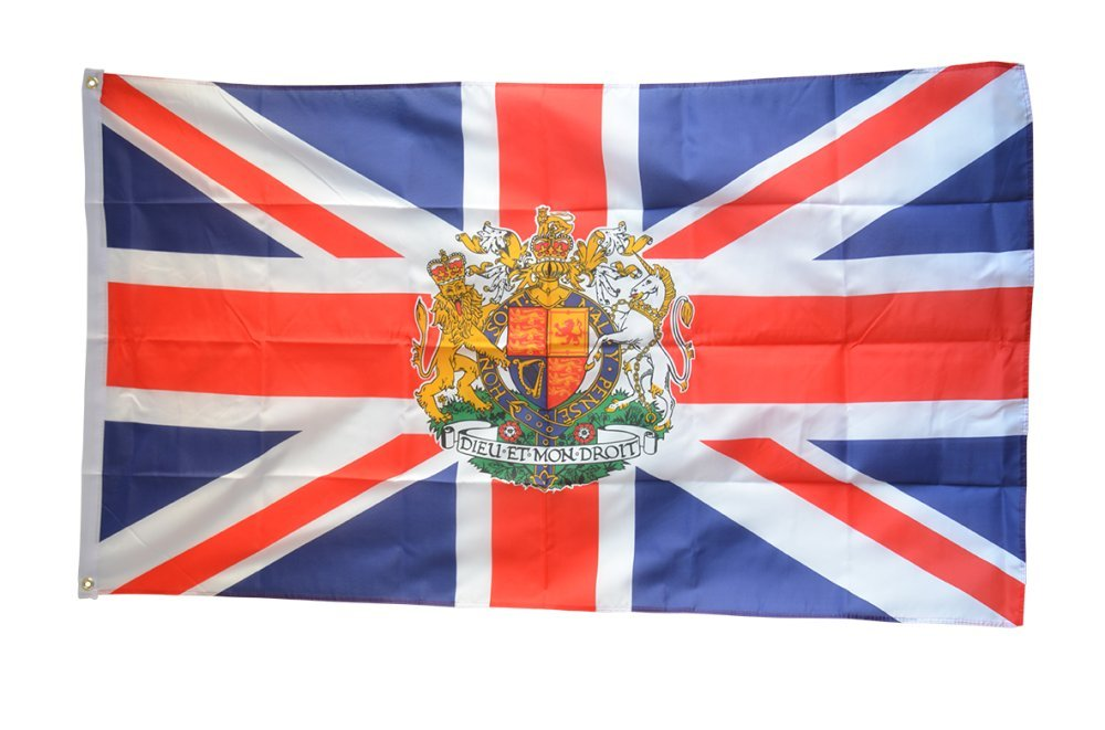 Digni Great Britain with coat of arms Flag, 2 x 3 ft + free sticker Digni®