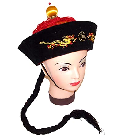 d6986fe63 Vintage Style Chinese China Emperor Hat with Braided Black Pony Tail