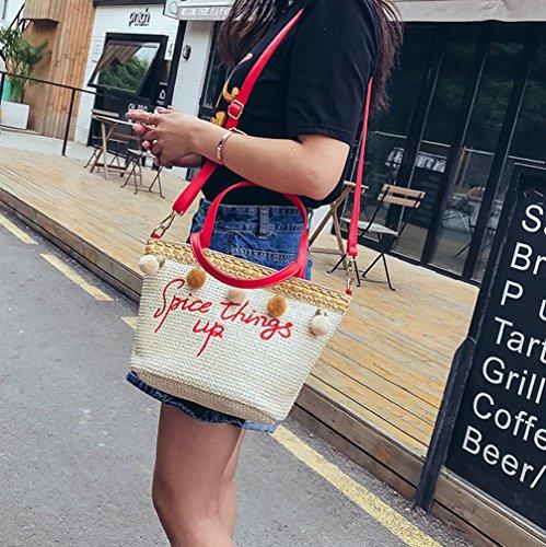 À Tissé Dexinx Sac Portable Main Épaule Sacs Été Friendly Spice Femmes Plage Eco Sac Charme À Paille Attrayant Rouge Bandoulière X00Sgrwq