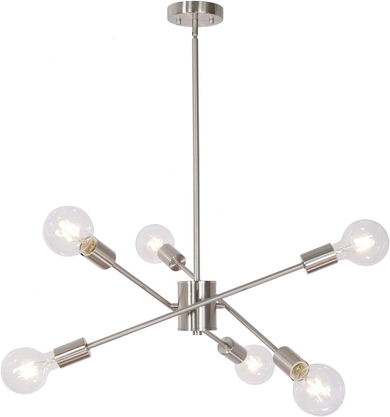 MELUCEE Modern Sputnik Chandelier Lighting Brushed Nickel 6 Lights, Industrial Ceiling Light Fixture Semi Flush Mount Pendant Lighting for Kitchen Island Bedroom Foyer