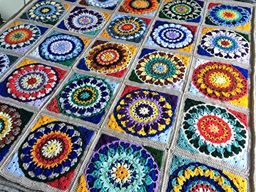 Crochet Throw with Cushion Cover. Crocheted Afghan. Mandala Style Crocheted Throw Rug, Blanket or Bedspread. New Handmade Throw with Free Shipping