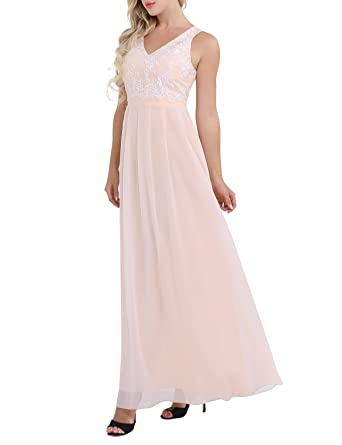 iiniim Womens Embroidered Lace Chiffon Wedding Bridesmaid Long Dress Evening Prom Gowns Apricot US Size 4