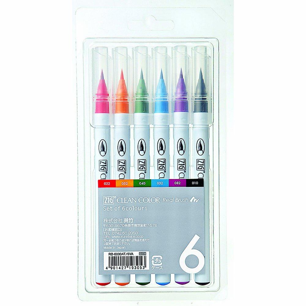 Kuretake Fude Real Brush Pen, Clean Color, 6 Set...