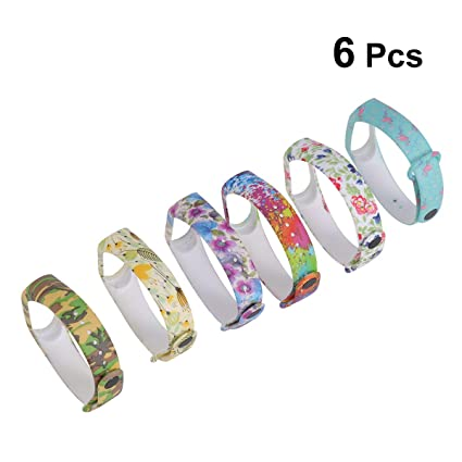 UKCOCO Band for Xiaomi Mi Band 3, 6 Pack Colorful Cartoon Floral Printed Soft Silicone