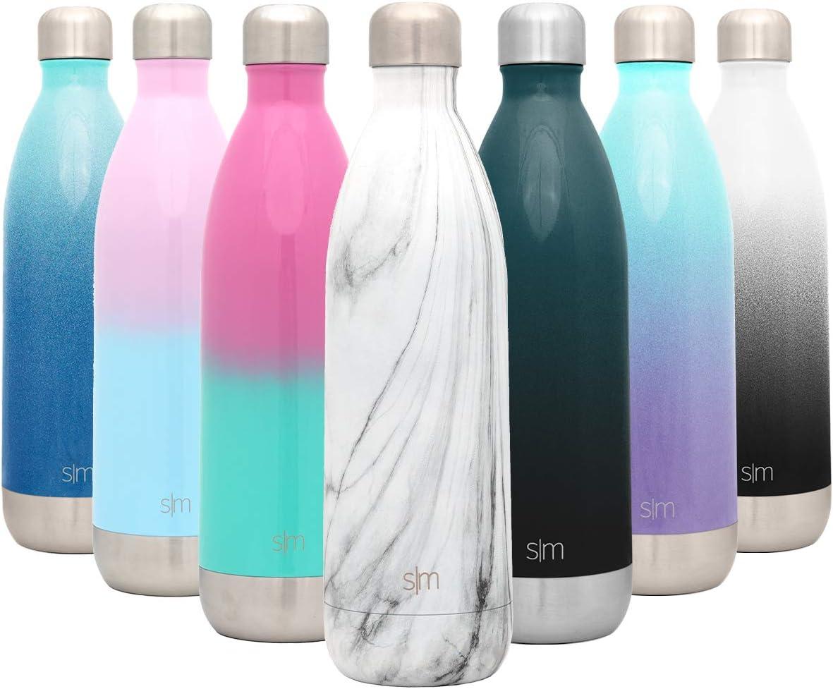 Simple Modern Wave 1000ml Termo Botella de Agua Acero Inoxidable, Botella termica sin BPA Mantiene el Temperatura Aislada al Vacío Doble Pared para Deporte café o Viaje Diseño: Mármol de Carrara