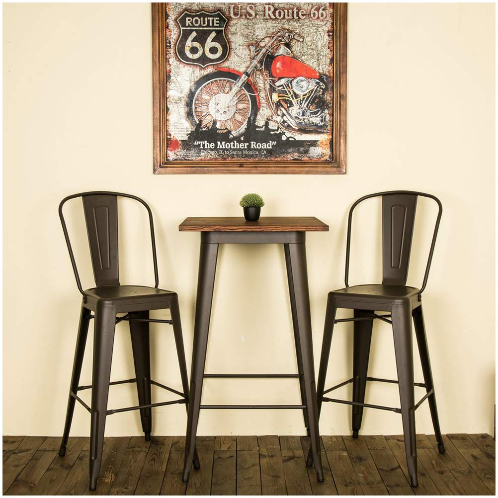 Glitzhome Rustic Wood Bar Pub Table Metal Height Bar Stool with Back Table and Chairs Set by Glitzhome
