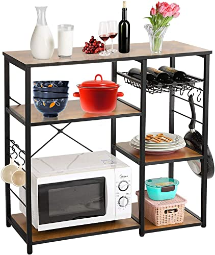 USSerenaY Industrial Kitchen Baker's Rack Utility Storage Shelf Coffee Bar Microwave Oven Stand