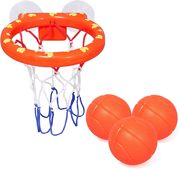 Amazon.com: zoordo Bath Toys Bathtub Basketball Hoop Balls Set for Toddlers Kids with Strong Suction Cup Easy to Install,Fun Games Gifts in Bathroom,3 Balls Included ( Only Stick on Smooth Surface ): Toys & Games