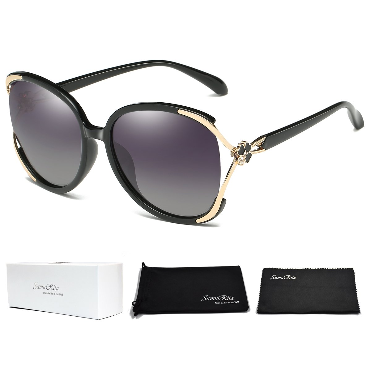 8af115b2d Amazon.com: SamuRita Clover Crystal Polarized Sunglasses Retro Eyewear  Oversized Eyeglasses(Black): Clothing