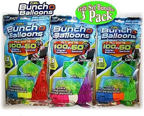 Zuru Bunch O Balloons Instant 100 Self-Sealing Water Balloons Complete Gift Set Bundle, 3 Piece (300 Balloons Total)