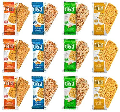 Just the Cheese Bars, Crunchy Baked Low Carb Snack Bars. 100% Natural Cheese. High Protein and Gluten Free … (Variety Pack)