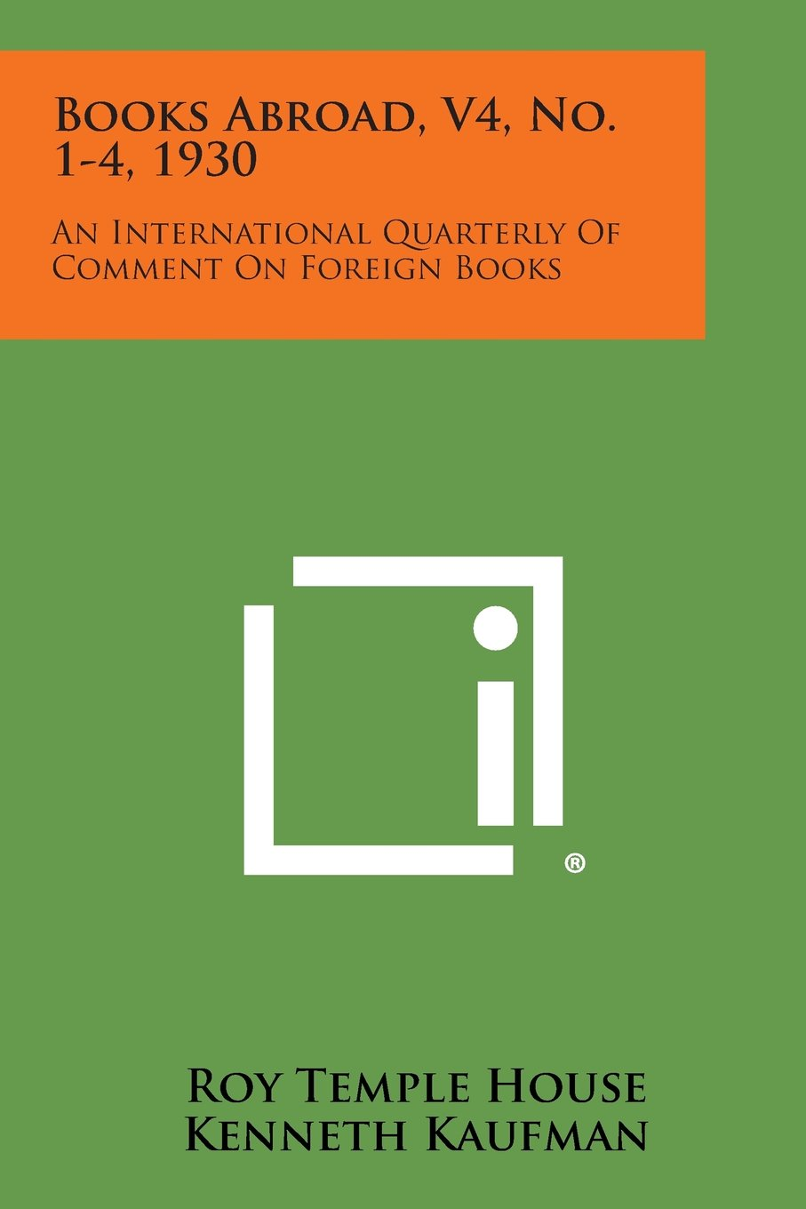 Books Abroad, V4, No. 1-4, 1930: An International Quarterly of Comment on Foreign Books PDF