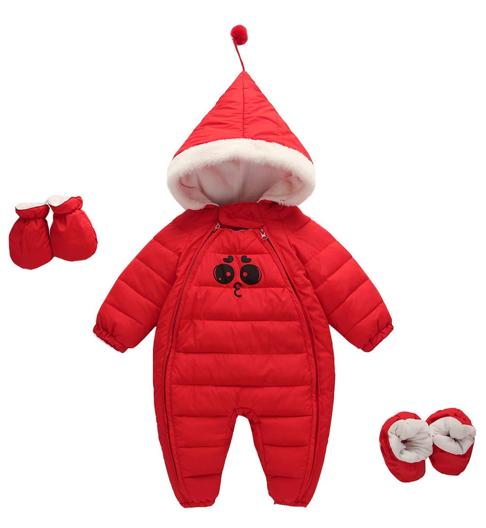 Unisex Baby Snowsuit Infant Warm Solid Polyester Long Sleeve Zip 3 Pieces Jacket Outwear with Cute Hood Red 3-9 Month Happy Cherry