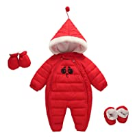 Baby Hooded Romper Toddlers Snowsuit Cotton Padded Winter Warm Up Outfit Outwear with Gloves and Shoes Red 0-3 Months