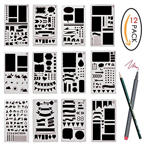 バレットジャーナルステンシルセット プラスチックプランナー DIY描画テンプレート 日記 ノート スクラップブック クラフトプロジェクト用 12Pcs SZMB201708