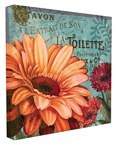 Stupell Home Décor Colorful Daisies with Antique French Backdrop Stretched Canvas Wall Art, 17 x 1.5 x 17, Proudly Made in -