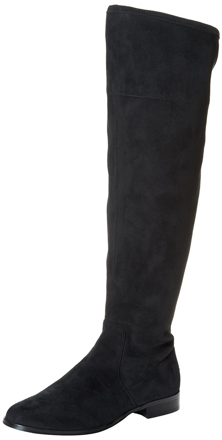 Calvin Klein Women's Rae Stretch Microfiber Slouch Boot,Black,5.5 M US