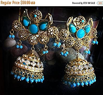 Amazon com: Turquoise Blue gold Filigree Earrings, Victorian
