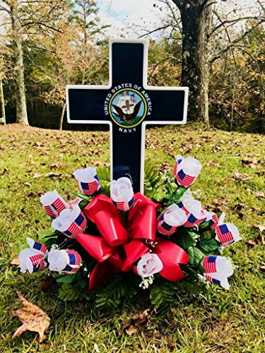 Solar Lighted Navy Cross by Eternal Light | Veteran Cemetery Graveside Decoration Heartfelt Gift