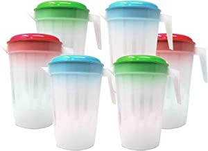 6 Pack Heavy Duty 1 Gallon/4.5 Liter Round Clear Plastic Pitcher Jug With Lid See Through Base & Handle For Water Iced Tea Beverages