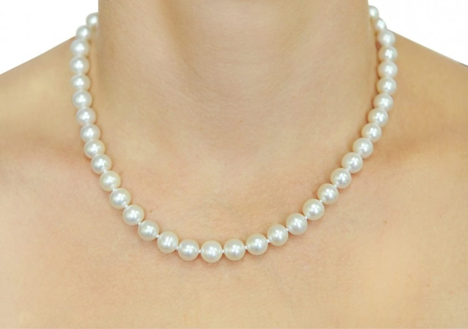14K Gold White Freshwater Cultured Pearl Necklace - AAAA Quality, 18 Inch Princess Length