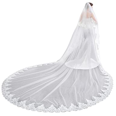 eb0e054799 EllieHouse Women s 2 Tier Cathedral Lace White Wedding Bridal Veil With  Comb L01WT
