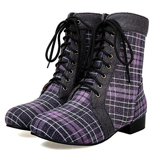 Stripes Lace Women Low Boots Purple With Heel COOLCEPT Up Western Mid Calf UvIqIf