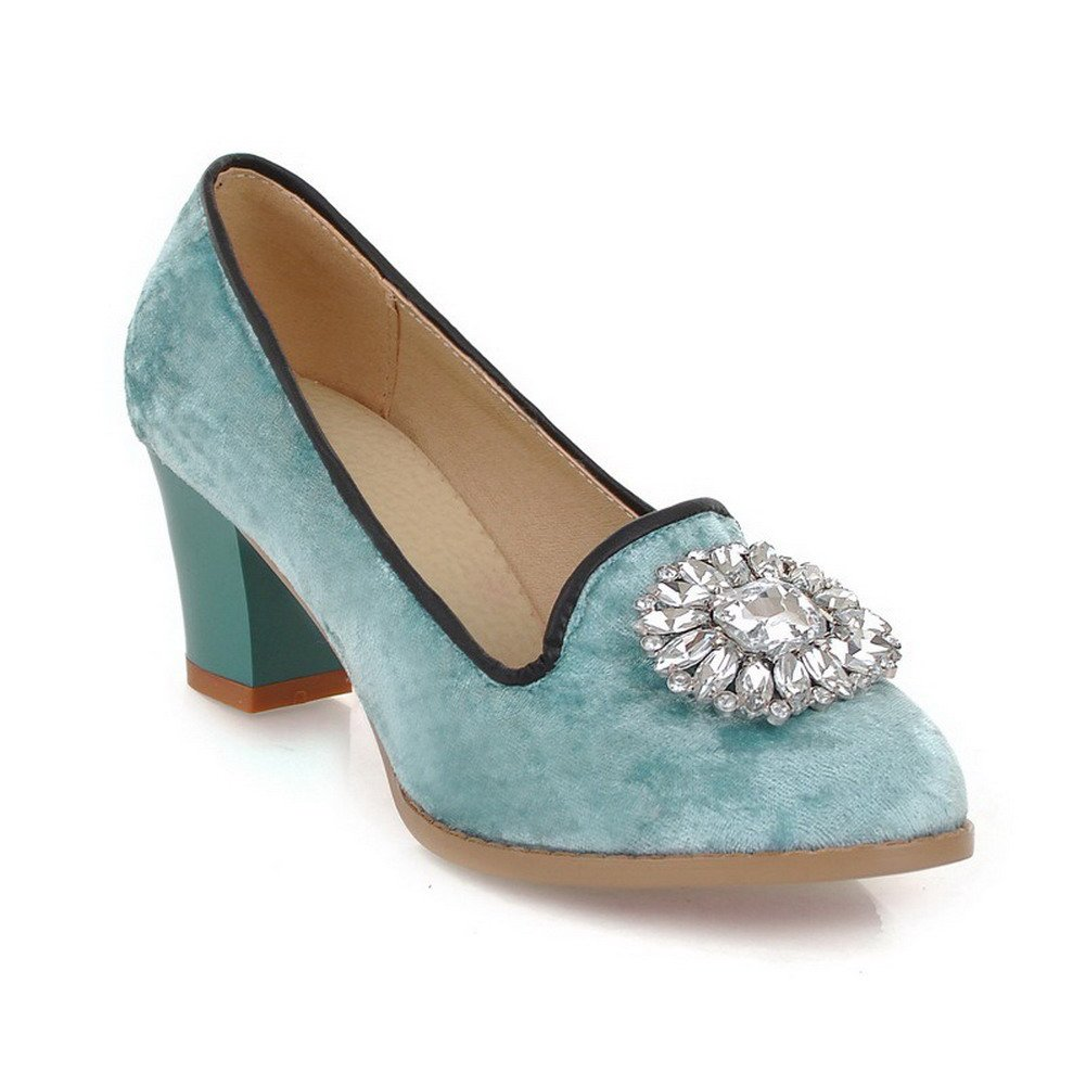 VogueZone009 Womens Closed Round Toe Kitten Heel Suede PU Soft Material Solid Pumps Glass Diamond, Blue, 7.5 B(M) US