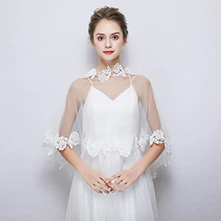 Sleeveless Tulle Wedding Party Evening Womens Wrap With Lace Capes