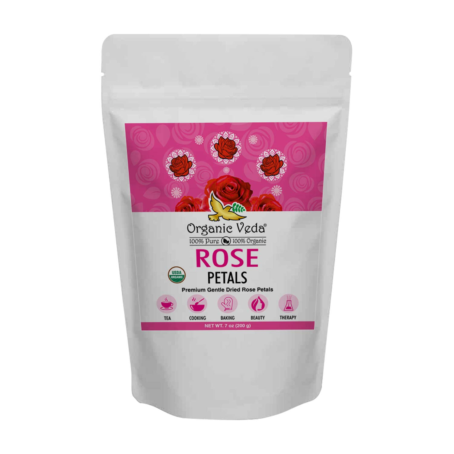 Organic Veda Rose Petal – Pure, Non-GMO, 100% Organic USDA Certified Food Grade Premium Gentle Dried Rose Petals for Tea, Cooking, Baking, Beauty, Therapy & Crafts – 7 Oz (200gm)