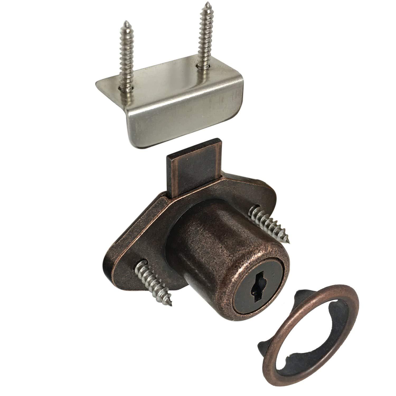 Desunia Office Desk Lock for Drawer & Door - 7/8'' (.875'') Bore - Antique Bronze - Keyed Alike - Includes Escutcheon Trim Ring, Strike, Screws - 4 Locks