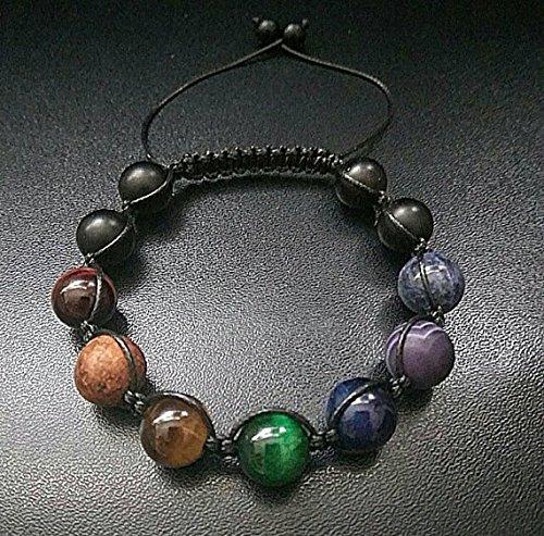 JP_Beads Shamballa Bracelet 10mm 7 Chakras Gemstone Macrame Adjustable Straps Unisex Bracelet Mens Gift Lava Onyx Agate Bracelet Multi Color Bracelet