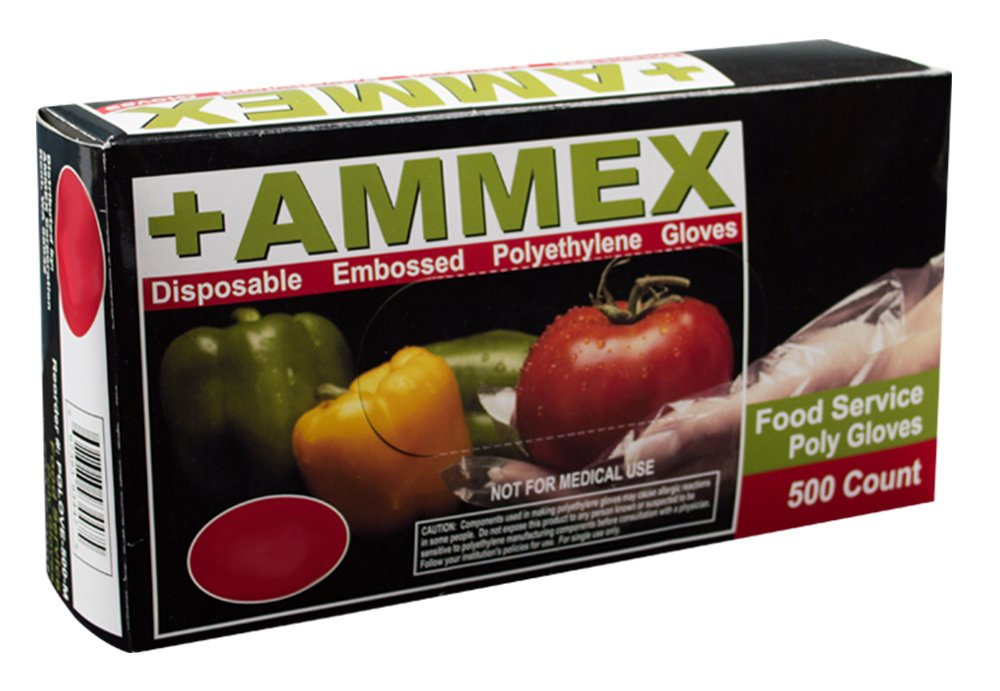 AMMEX - PGLOVE-L-500-CS - Poly Gloves - Disposable, Food Service, 1 mil, Large, Clear (Case of 2000)