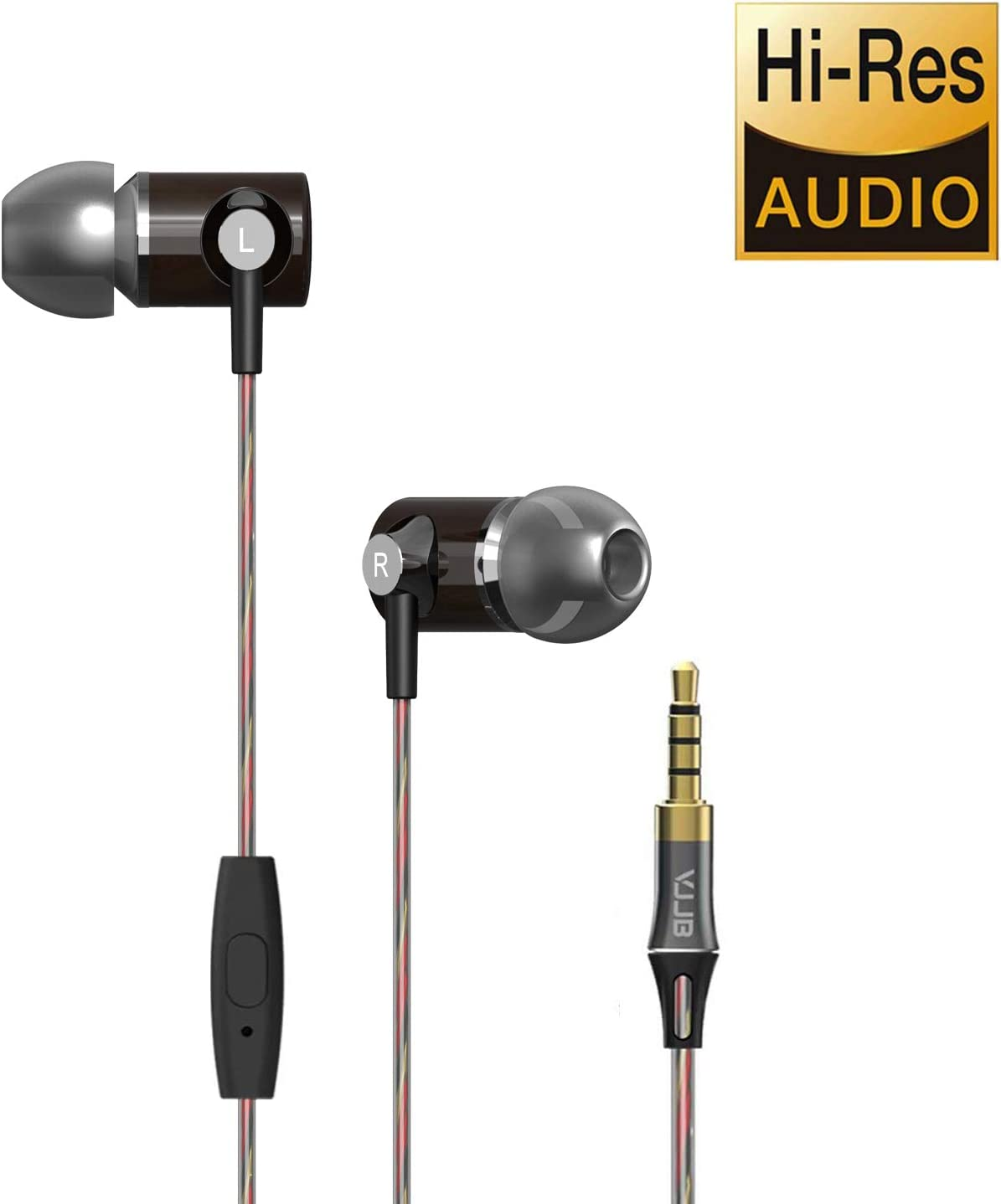 in Ear Headphones, HiFi Bass Stereo Headphones with Microphone Wired Sport Earbud Headphones Wood Tangle Free Earphones Noise Isolating Earbuds for Workout, Running, Gym Black