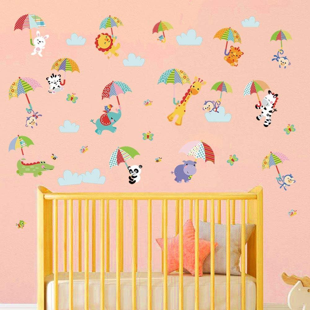 decalmile Stickers Muraux Animaux avec Parapluie Autocollant D/écoratifs /Él/éphant Girafe Singe D/écoration Murale Chambre Enfant B/éb/é Garderie Salon