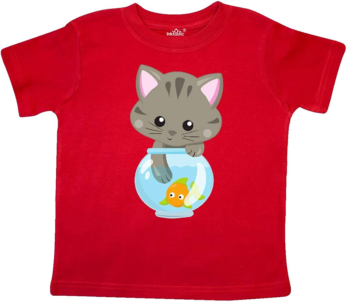 Fish Toddler T-Shirt Cute Little Cat inktastic Kitty and The Fish Bowl