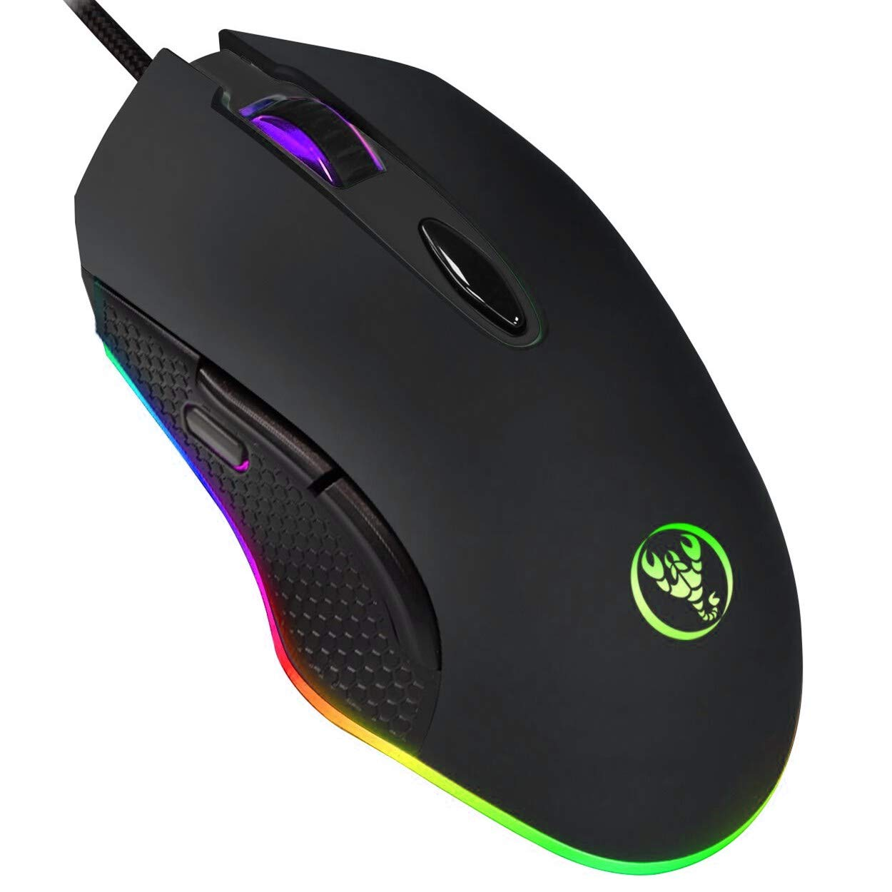 ERUN Gaming Mouse Wired, Chroma RGB Backlit Color 4DPI Adjustable Comfortable Grip Ergonomic Optical PC Computer Mice with Fire Button Mouse Black