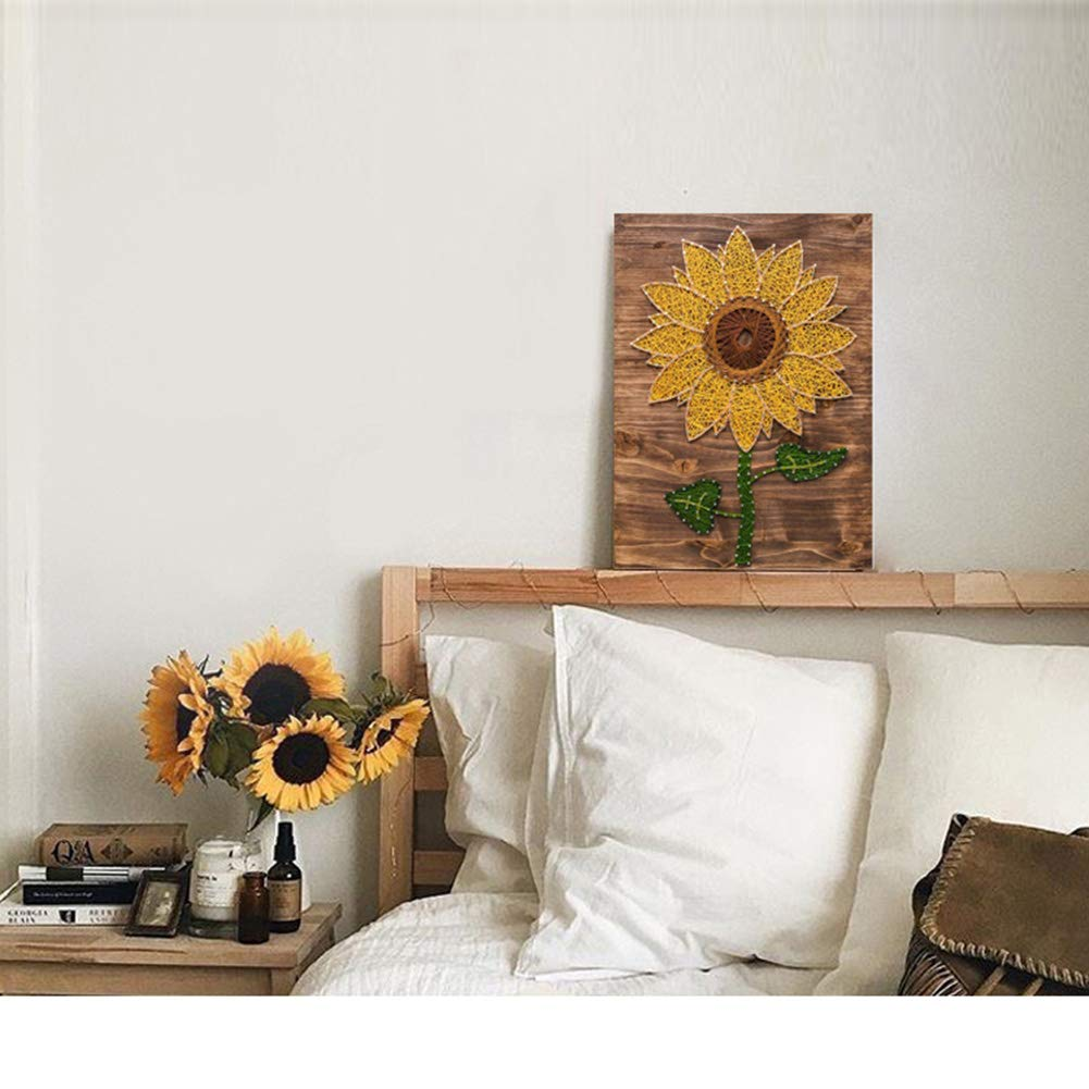 Home Decoration DIY Sunflower Three-Dimensional Thread String Silk Painting, Mural DIY Material Package Decompression Desktop Decoration Ornaments, Parent-Child Manual Interactive Game by Home Decoration (Image #3)