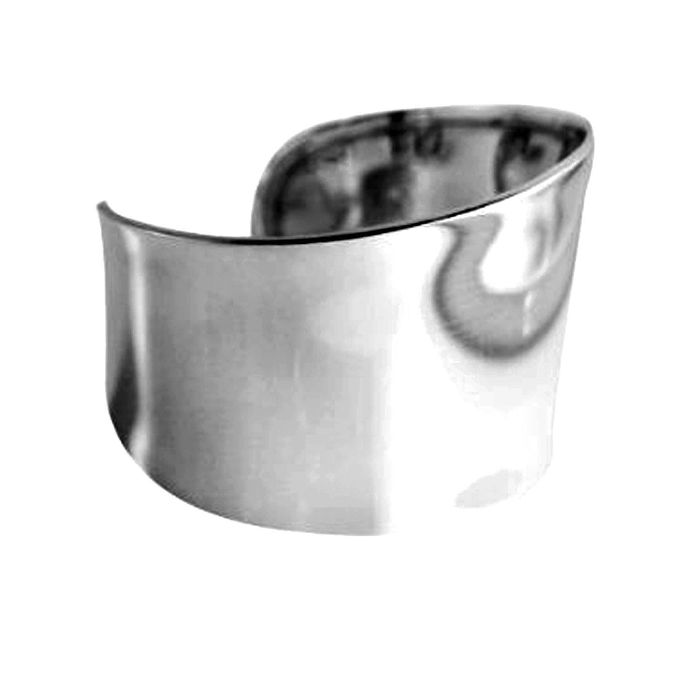 apop nyc 925 Sterling Silver Wide Statement Cuff Bangle Bracelet [Jewelry]