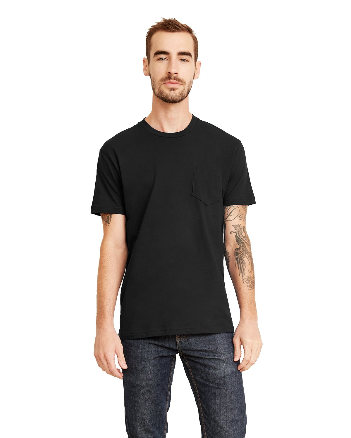 Next Level Men's Pocket Crew T-Shirt, Black, Large