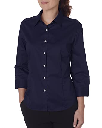 ae045134215 Van Heusen Women s Durable 3 4 Sleeve Dress Twill Shirt at Amazon Women s  Clothing store