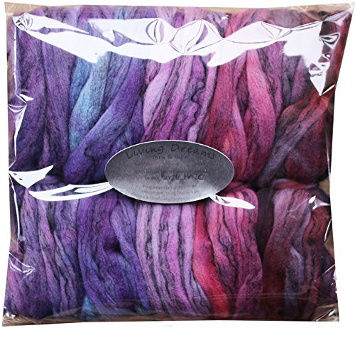Hand Dyed Merino Tencel Spinning Fiber. Super Soft Wool Top Roving drafted for Hand Spinning, Felting, Blending and Weaving. 5 Beautifully Colored Mini Skeins Discount Pack, Purple Haze by Living Dreams Yarn