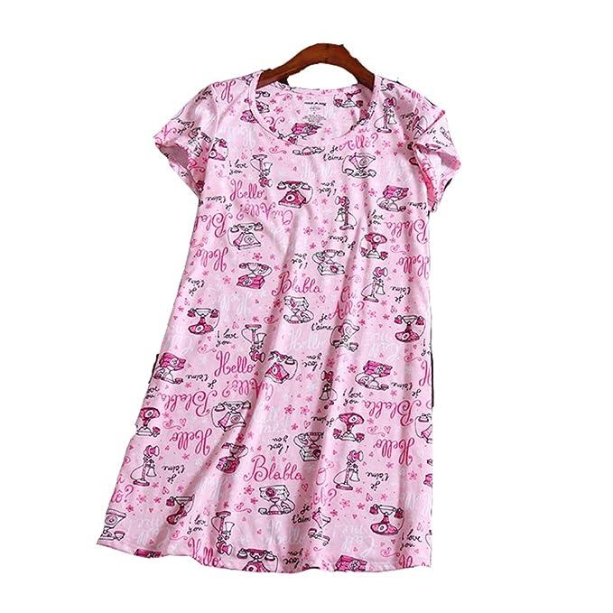 Pijama Mujer Verano Algodon Manga Corta Vestido De Dormir Rosa Pijamas de una Pieza: Amazon.es: Ropa y accesorios